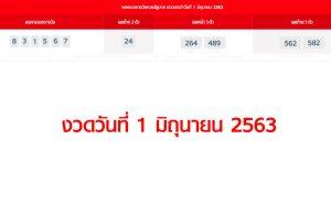 ตรวจหวยรัฐบาล งวดวันที่ 1 มิถุนายน 2563