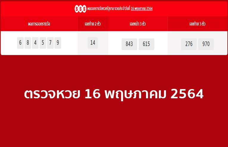 ผลหวยไทย ตรวจรางวัลสลากกินแบ่งรัฐบาล งวดวันที่ 16/5/64 หวยรัฐบาล