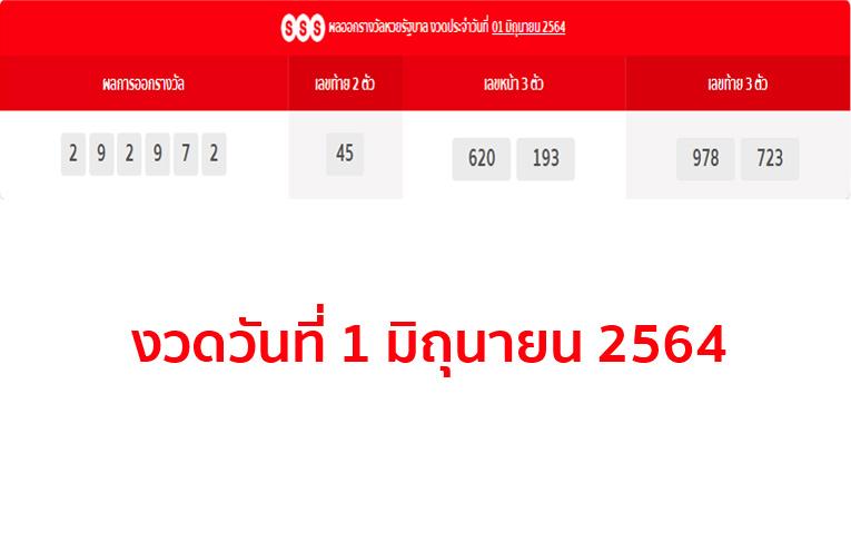 ตรวจหวยรัฐบาล งวดวันที่ 1 มิถุนายน 2564