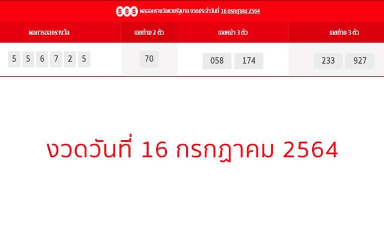 ตรวจหวยรัฐบาล งวดวันที่ 16 กรกฏาคม 2564